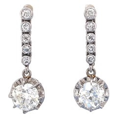 Antique French Belle Époque 1.58 1.49 Carat Old Mine Diamond Platinum Earrings