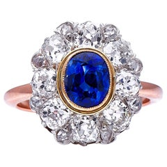 Antique, French, Belle Époque, 18 Carat Gold, Sapphire and Diamond Cluster Ring