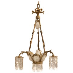 """Antique French """"Belle Epoque"""" Bronze and Crystal Beaded Chandelier, circa 1890"""