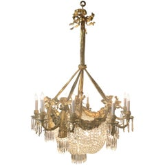 """Antique French """"Belle Époque"""" Bronze and Crystal Chandelier, circa 1920"""