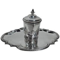 Antique French Belle Époque Classical Silver Inkwell on Stand