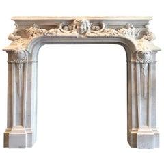 Antique French Belle Epoque Mantelpiece White Carrara Statuary Marble