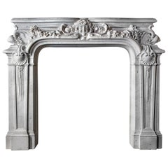 Antique French Belle Epoque Mantelpiece White Carrara Statuary Marble