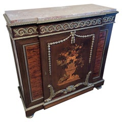 Antique French Belle Époque Marquetry Inlaid Parlor Cabinet
