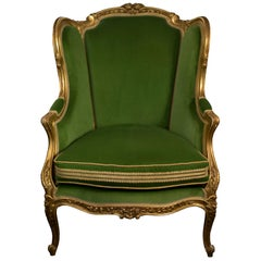 Antique French Bergère Chair Fully Reupholstered and in Green Cotton Velvet