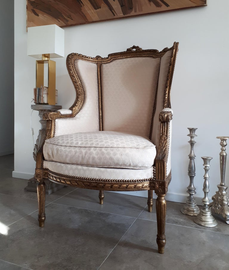 Antique French Bergère Louis XVI Style Napoléon III Period For Sale 6