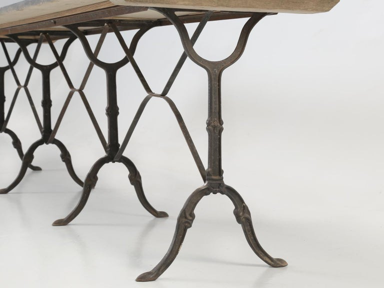 Antique French Bistro Table Exceptionally Long and Will Seat '12' People For Sale 3