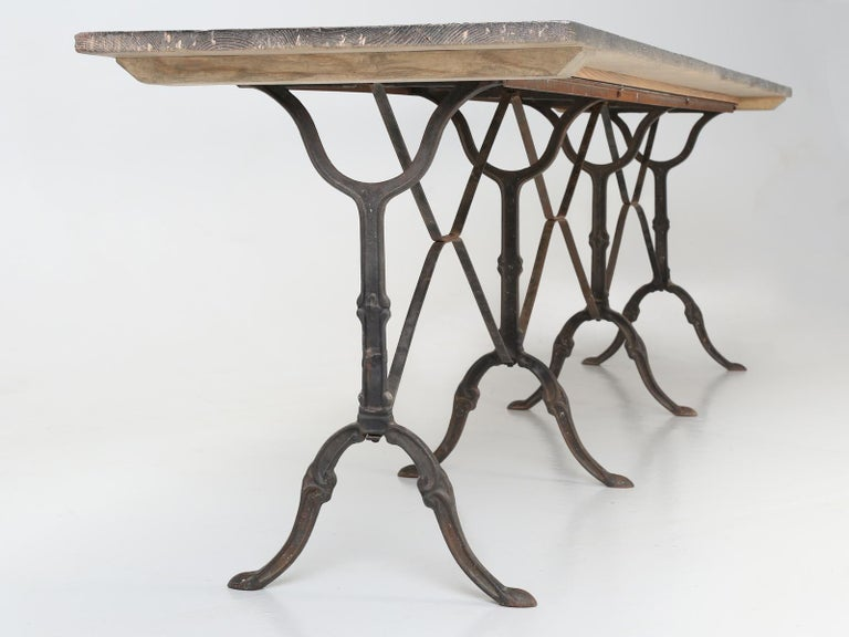 Antique French Bistro Table Exceptionally Long and Will Seat '12' People For Sale 4
