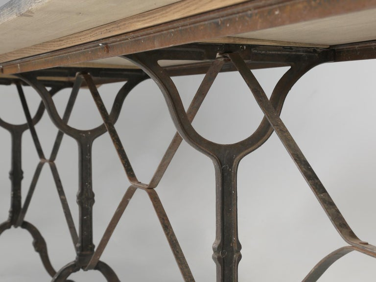 Antique French Bistro Table Exceptionally Long and Will Seat '12' People For Sale 6
