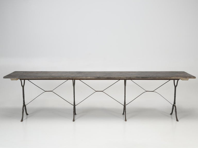 Antique French Bistro Table Exceptionally Long and Will Seat '12' People For Sale 2