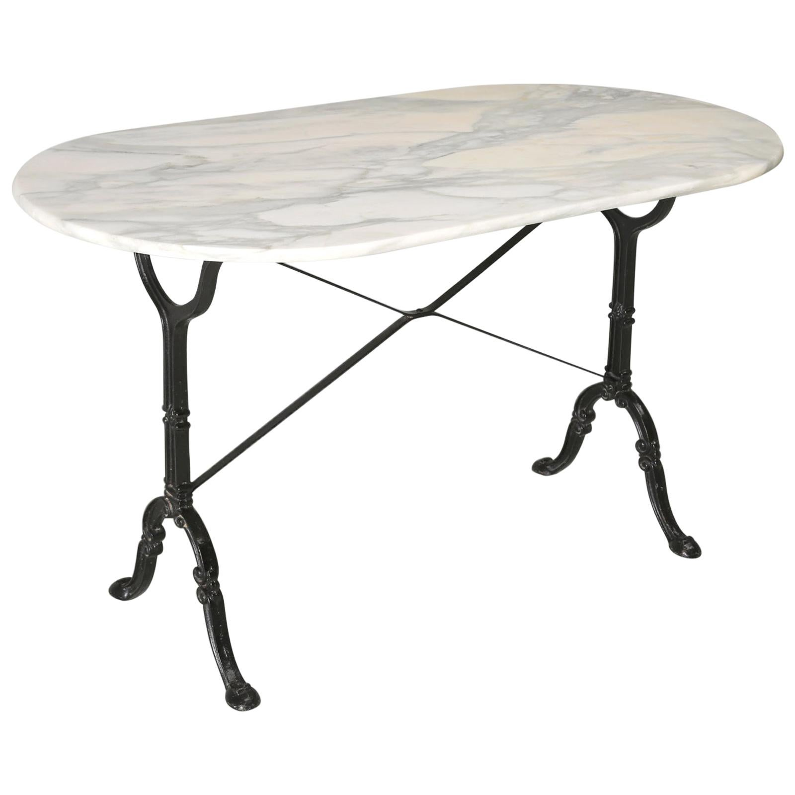 Antique French Bistro Table with an Exceptional Beautiful Honed Marble Top