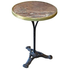 Antique French Bistro Table with Brown Marble and Brass Top on Iron Base