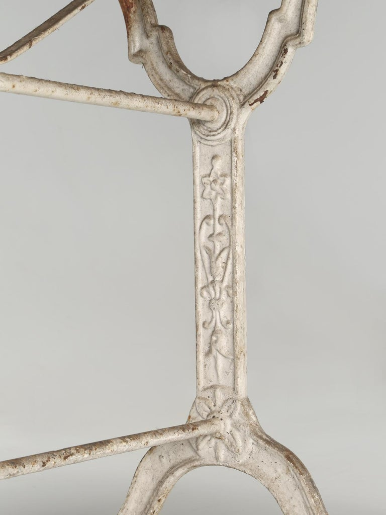 Antique French Bistro Table with Cast iron Base, Old Paint and Rustic Wood Top For Sale 10