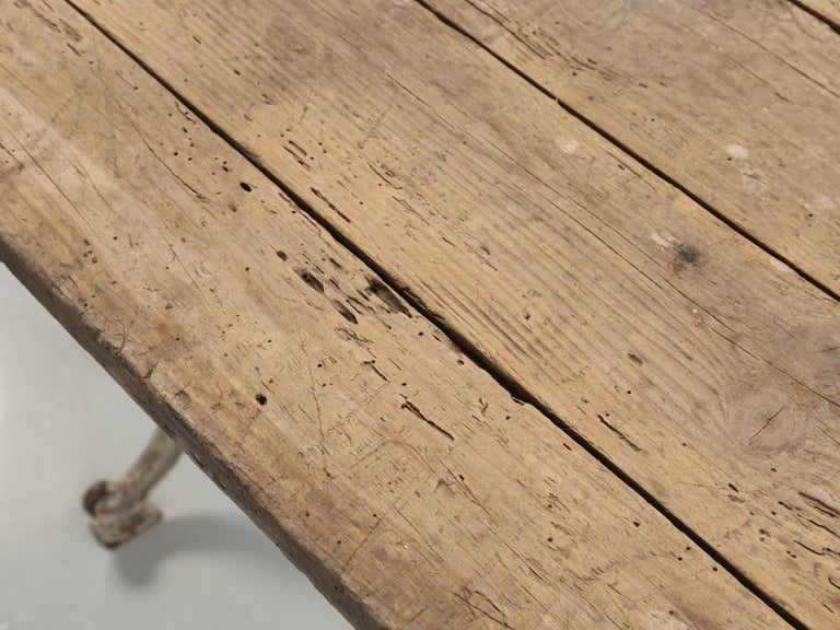 Antique French Bistro Table with Cast iron Base, Old Paint and Rustic Wood Top For Sale 1
