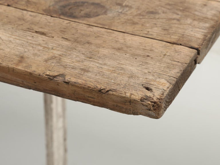 Antique French Bistro Table with Cast iron Base, Old Paint and Rustic Wood Top For Sale 3