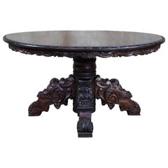 Antique French Black Forest Carved Walnut Oval Hunt Dining Library Table