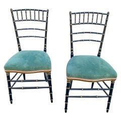 Antique French Black & Gold Chinoiserie Style Chairs with Green Suede Seat