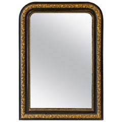 Antique French Black and Gold Louis Philippe Mirror