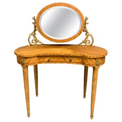 Antique French Bleached Mahogany Kidney Shape Dressing Table with Sconces