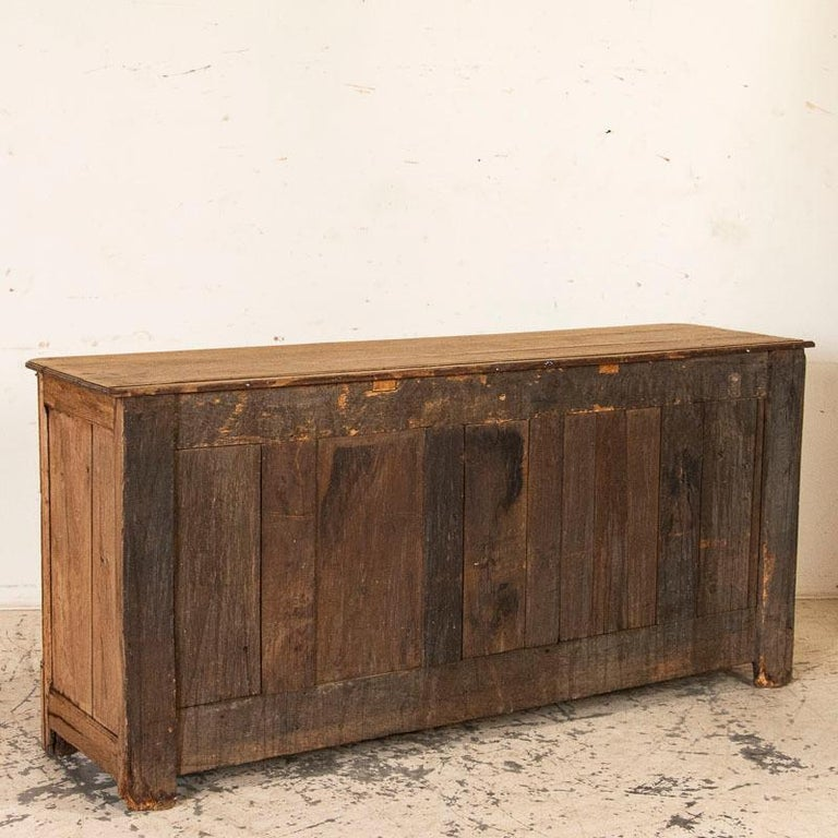 19th Century Antique French Bleached Oak Long Sideboard For Sale