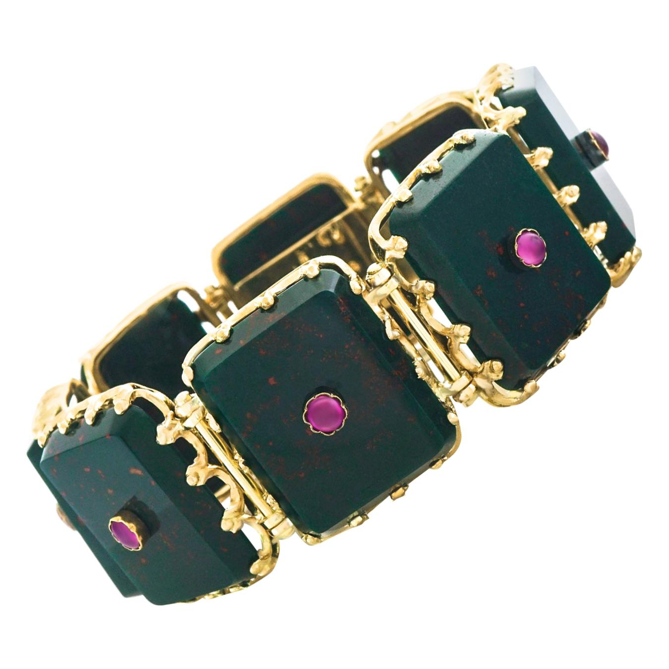 Antique French Bloodstone and Ruby-Set Gold Bracelet