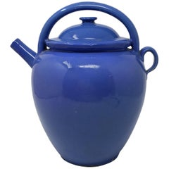 Antique French Blue Earthenware Jug