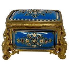 Antique French Blue Enameled Box, circa 1890