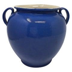 Antique French Blue Handled Confit Pot