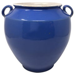 Antique French Blue Handled Confit Pot