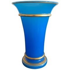 Antique French Blue Opaline Glass Vase