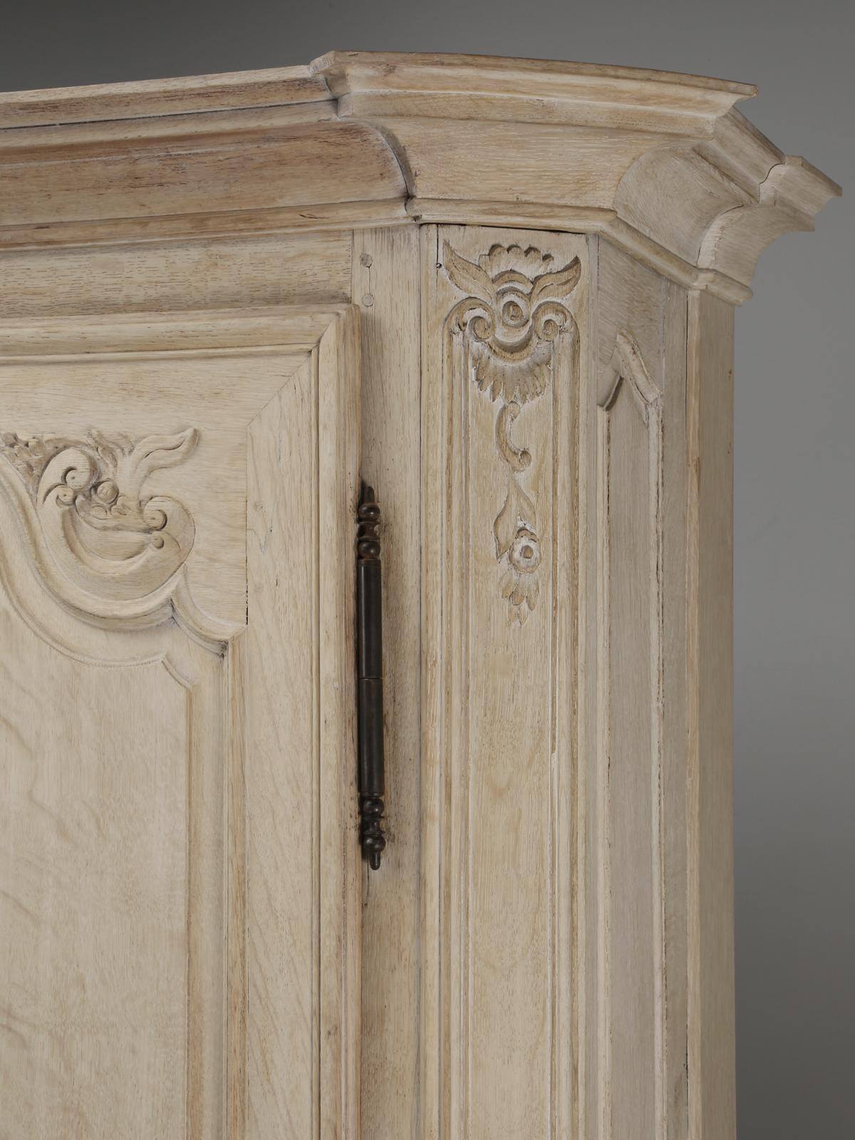 Antique French Bookcase Or Cabinet In Limed White Oak Restored