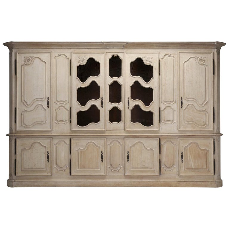 Oak Kitchen Cabinets For Sale: Antique French Bookcase Or Cabinet In Limed White Oak And