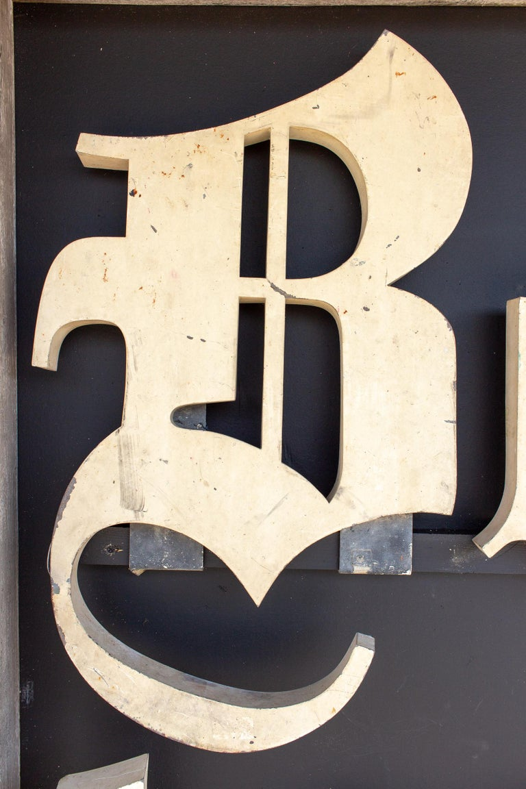 Truly a beautiful discovery during our recent travels, this is an antique set of Boulangerie large scale shop letters that once hung in a Parisian Boulangerie (where the baguettes of bread are made!).  Mounted and hung as art on a contrasting, matte