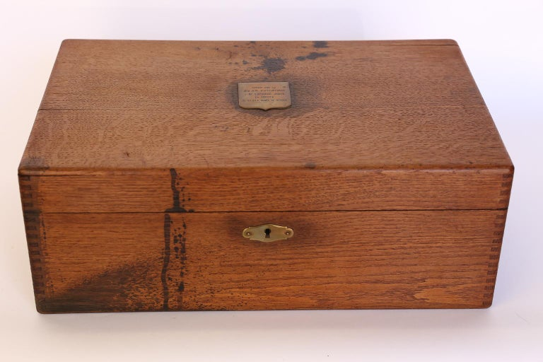 Antique French Box with Brass Plaque In Good Condition For Sale In Houston, TX