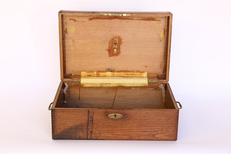 Antique French Box with Brass Plaque For Sale 1