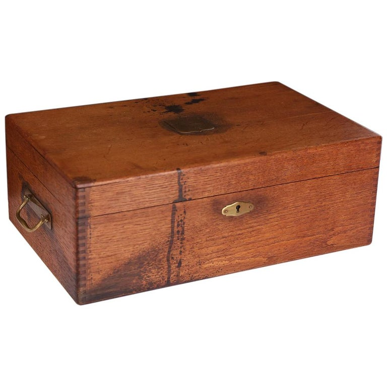 Antique French Box with Brass Plaque For Sale