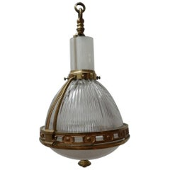 Antique French Brass and Glass Holophane Pendant Light