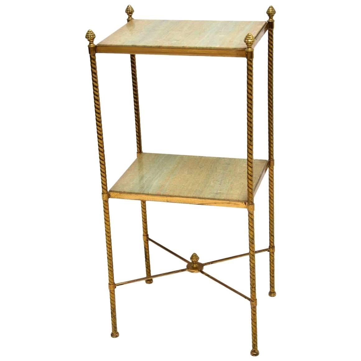 Antique French Brass And Marble Two Tier Table For Sale