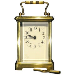 Antique French Brass Carriage Clock of British Military Interest, Dated 1918