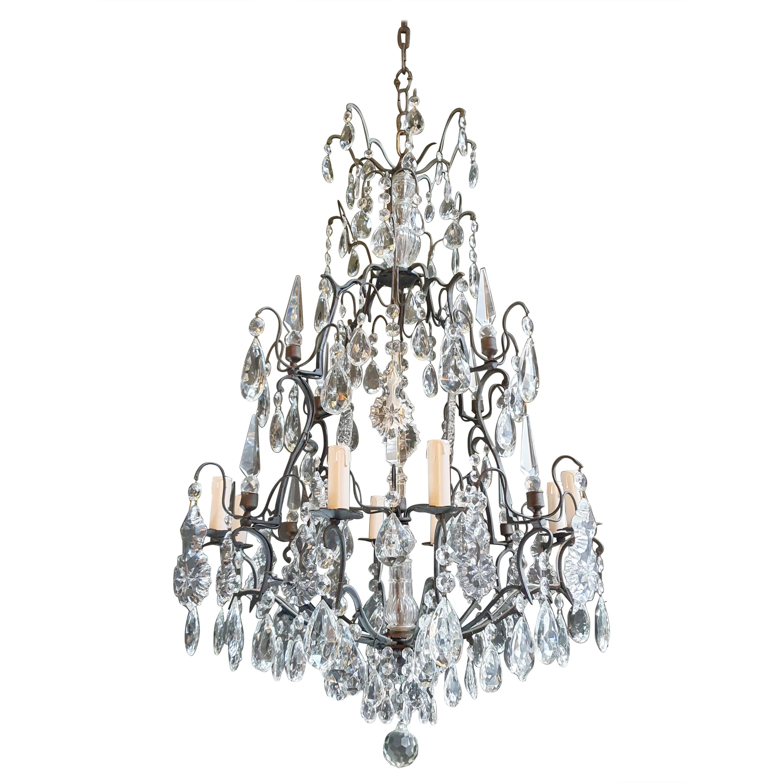 Antique French Brass Crystal Chandelier Ceiling Lamp Lustre Art Nouveau Lamp