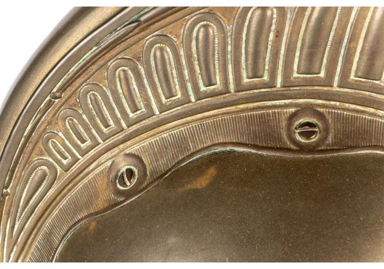 Antique French Brass Helmet Recreated as Lamp For Sale 5