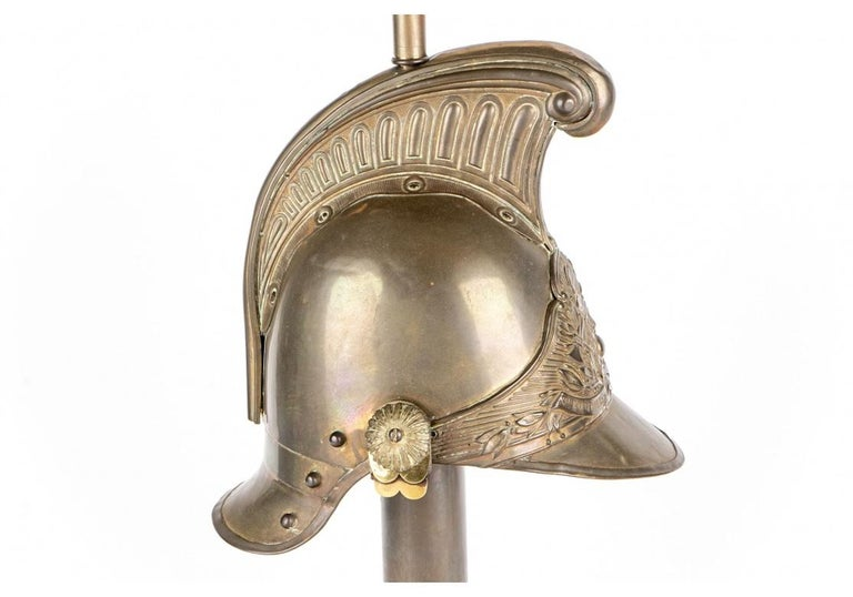 19th Century Antique French Brass Helmet Recreated as Lamp For Sale
