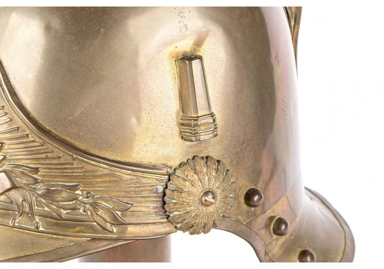 Antique French Brass Helmet Recreated as Lamp For Sale 1
