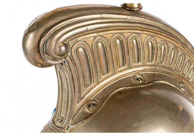 Antique French Brass Helmet Recreated as Lamp For Sale 2