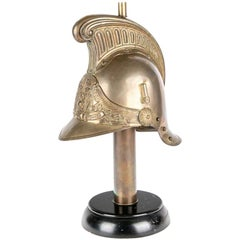 Antique French Brass Helmet Recreated as Lamp