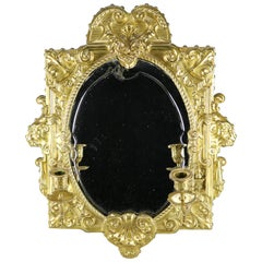 Antique French Brass Repousse Mirrored Candle Wall Sconce, circa 1880