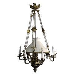 Antique French Brass Suspension Lantern