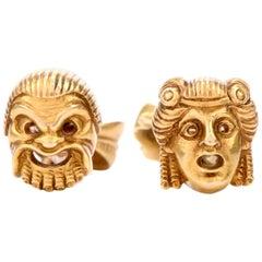 Antique French 18 Karat Gold Mask Cufflinks