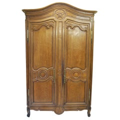 Antique French Brittany / Normandy Carved Oak French Armoire/ linen press