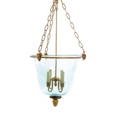 Antique French Bronze and Glass Bell Jar Hall Light Fixture